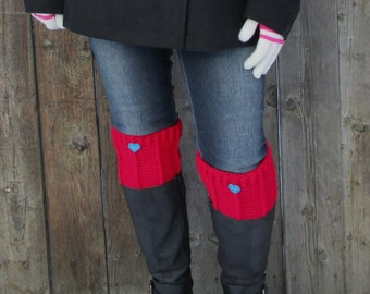 Women's Boot Cuffs - SALE 50% OFF - Leg Warmers - Berry Boot Toppers - Crochet Boot Socks for Valentine's Day - Crochet Accessories