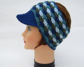 Blue And Green Visor Headband - Women's Head Wrap - Crocheted Sun Visor - Brimmed Headband - Cotton Headwear - Crochet Accessories