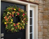 Wreath, Mother's Day, May Flowers, Spring Wreaths, Summer Wreath, Front Door Beach House Decor, Wreath, Wreaths, Beach Grasses