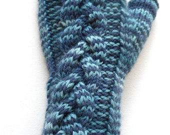 Handknit Fingerless Gloves for Women and Girls, Texting Gloves, Arm Warmers, Wrist Warmers, cable pattern, shades of blue, knitted mitts