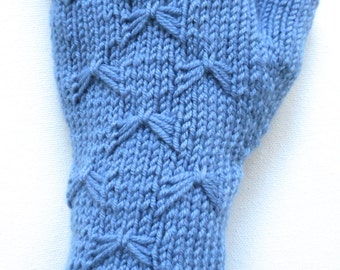 Handknit Fingerless Gloves for Women, Teen Girls, Texting Gloves, Spring gloves, blue knitted gloves, butterfly stitch, merino wool gloves