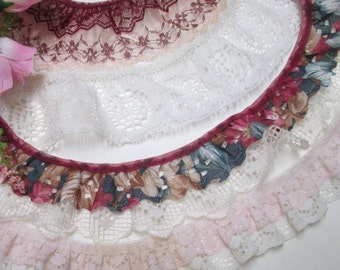 """Ruffled Wide Lace Grab Bag 356"""" Pink Wine White Double Gathered Lace Ribbon Trims Edging Vintage Scrap Pack Assortment"""