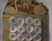 Vintage Buttons - Lot of carded buttons for your next sewing project 12 shell buttons