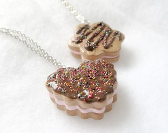 Polymer Clay Sandwich Cookie with Icing and Sprinkles Necklace - Your CHOICE of shape