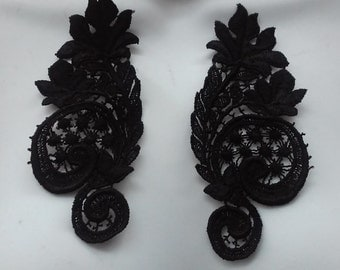 SALE Pair Lace Applique in Black Venise Lace for Lace Necklaces, Jewelry or Costume Design, Altered Couture  PR 11