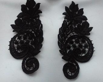 SALE Black Lace Applique PAIR in Venise Lace for Garments,  Jewelry or Costume Design PR 11