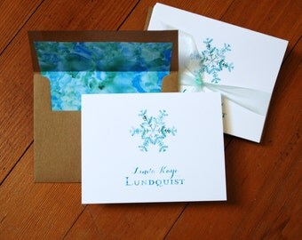 Custom Watercolor Design Note Cards (Set of 10) with matching liners