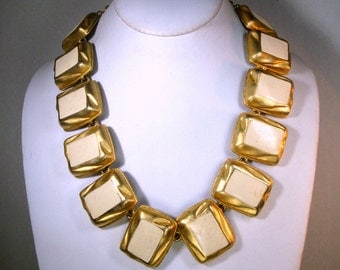 Ivory Enameled Gold Link Necklace, Chunky Linked Dimensional Rectangles, 1980s MOD Geometry