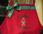 Childs Embroidered Baking Apron with Cookie Tester Gingerbread Man