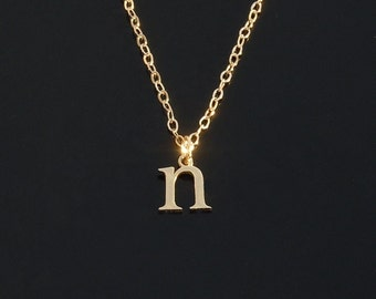Tiny 14kt Gold Initial Necklace