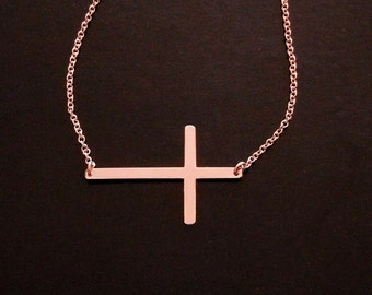 ROSE GOLD Sideways Cross - Kelly Ripa Cross Necklace - 14kt gold Set CENTER or Off Center