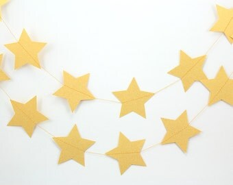 Shimmer Metallic Gold Stars Paper Garland - 10 ft strand