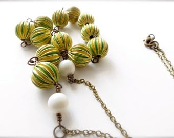 Colorful Lime Green and Yellow Beaded Retro Necklace // white Swarovski pearl accent, sixties 1960s funky vintage style, wire wrapped brass