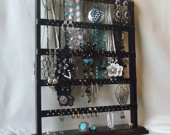 "Black Earring Holder Jewelry Organizer, Earring Stand, Necklace Display, ""You Choose The Base Style"" ,  Necklace Storage, Substantial Base"