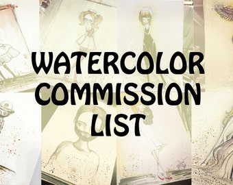Custom Watercolor Commission Work - 4x6 OR 9x12 OR 12x16 - color illustration by Jessica von Braun
