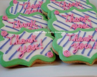 Custom thank you cookies 1 dozen pick your own colors