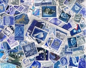 25 x shades of blue used postage stamps, vintage + more recent, world stamps for crafting, collage, upcycling or collecting - all off paper