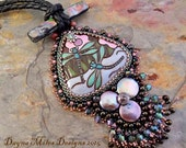 Dragonflies - Bead Embroidery Pendant Statement Necklace