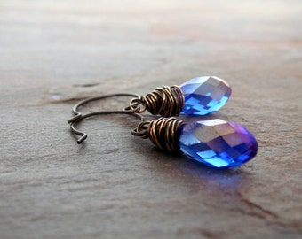 Blue Sapphire Crystal Earrings/  Short Blue Beaded Earrings/ Bohemian Jewelry/ Wire Wrapped Earrings/ Blue Earrings/ Antique Brass Earrings
