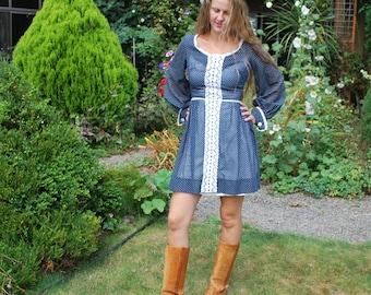 Vintage 60's Sheer Blue Mini Dress
