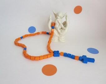 Catholic Lego Rosary - Orange and Blue Lego Rosary  - First Communion Gift