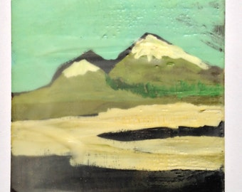 Near Ordos - Original Encaustic Painting on Panel by Landfall