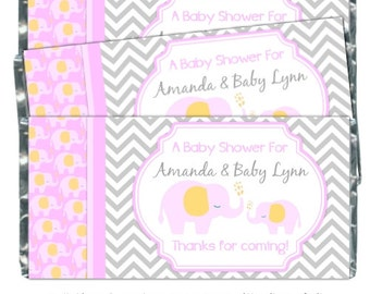 Mod Elephant Baby Shower Candy Wrappers - Elephant Chocolate Bar Candy Wrappers - baby shower, chevron design