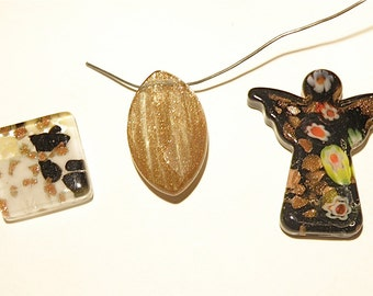 DESTASH - Three (3) Glass Focal Bead, Glass Angel, and Square Glass Cabochon with Goldstone -- Lot HH