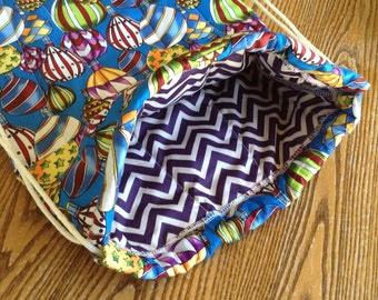 Quilted Backpack for Toddler Drawstring Closure Colorful Hot Air Balloons