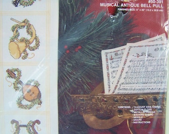 Vintage Christmas Cross Stitch Kit, Janlynn Musical Antique Bell Pull, SALE Christmas Embroidery Craft Kit, Needlework, Holiday Sampler