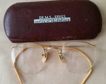 Vintage Eye Glasses and Case from Dr. E.M. Erkes, Optometist at Helzberg's
