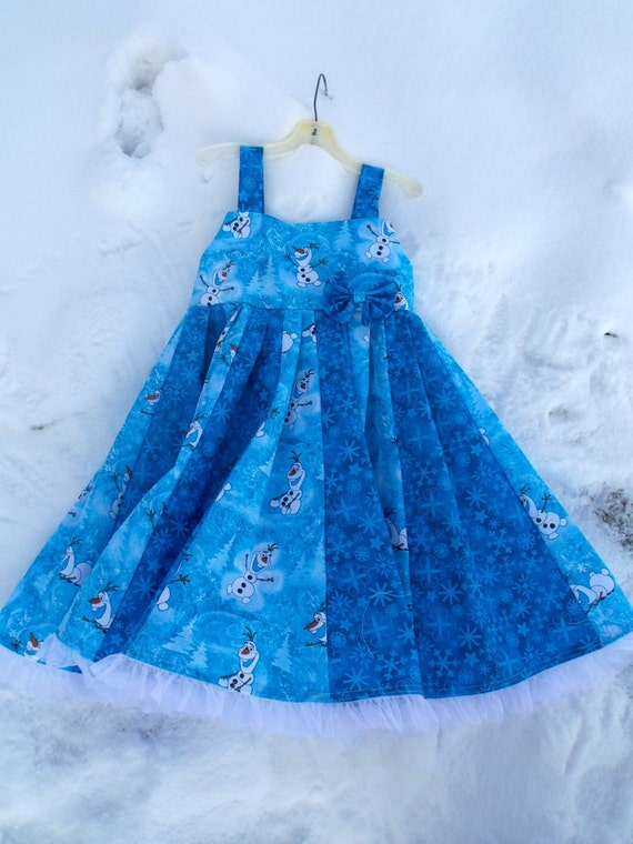 custom boutique twirl dress made with disney frozen olaf fabric size 2-6