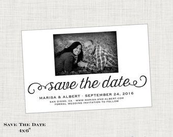 Save the Date Postcard, Photo Save the Date Card, Wedding Save the Date