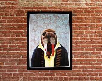Limited edition signed and numbered pirate walrus fine art print