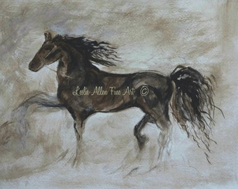 """Horse Art Print Giclee Horse Abstract Wall Art Horse Horses Friesian Running Paintings Print Abstract  """"Strapping Stallion"""" Equestrian"""