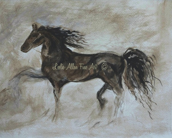 """Horse Art Print Giclee Horse Abstract Print Wall Art Horse Horses Friesian Running Paintings Print Abstract  """"Strapping Stallion"""" Equestrian"""