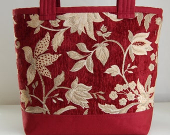 Burgundy Saxon Chenille Fabric Tote Bag - READY TO SHIP