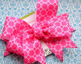 Bright Pink Lattice XL Diva Bow