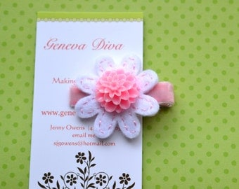Light Pink and White Felt Flower Clip with Mum Button Center