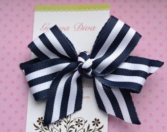Preppy Stripes in Navy and White Classic Diva Bow