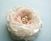 Bridal Silk Flower hair clip or sash pin, Wedding hair flower, fabric flower, ivory, pale blush pink, rhinestones pearls lace rose peony