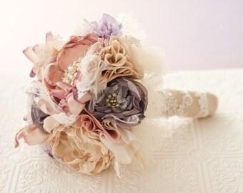 Brooch Bouquet, Fabric Wedding Bouquet, bridal flower rhinestone pearl brooches, silk flowers blush victorian lilac champagne broach