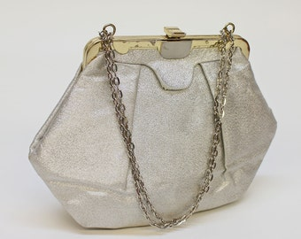 70's Silver Metallic Evening Bag / Purse with Chain