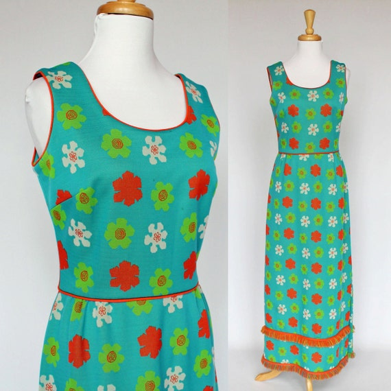 60's Retro Flower Power Maxi Dress / Long Floral Dress / Double Knit / Sleeveless / XSmall to Small