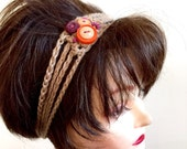 SALE Pop Art Headband - Button Embellished-100 Percent Cotton Yarn - Eco Friendly - Teen Women Girls Hair Accessory