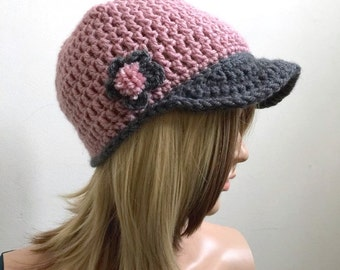 The Abby Brimster - Pink and Gray - PomPom Flower Applique - All Season Brimster - Women Girls Teen - Brimster Ballcap Newsboy Baseball Cap