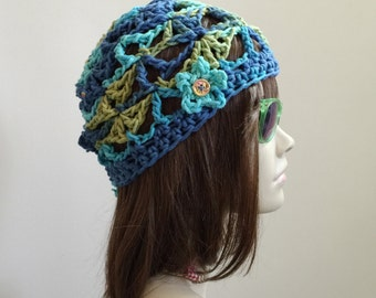 Summertime Tam with Tiny Button Flower Applique  - Crocheted in Lang Cotone - 100 Percent Cotton Yarn -