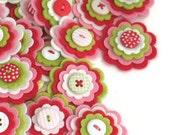 STRAWBERRY SHORTCAKE Felt Flowers, Handmade Embellishments, Felt Flower Applique, Felt Embellishment, Hair Clippie Flowers Set of 3
