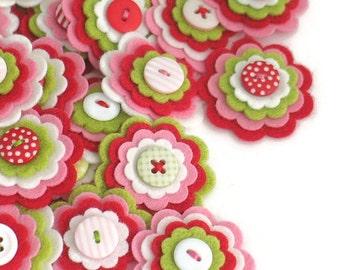 STRAWBERRY SHORTCAKE Felt Flowers x3, Handmade Embellishments, Felt Flower Applique, Felt Embellishment, Kids Craft Flowers,Sewing Applique