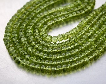 Large 5-6mm Spring Green Gem Peridot Faceted Rondelle Beads 10 beads demi strand